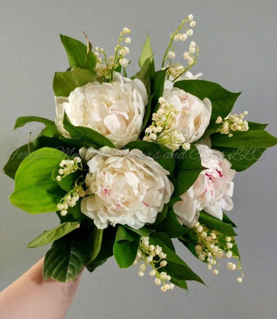 Wedding bouquets not flowers  Peony and Lily of the Valley Bridal Bouquet by ForgetMeNot Flowers