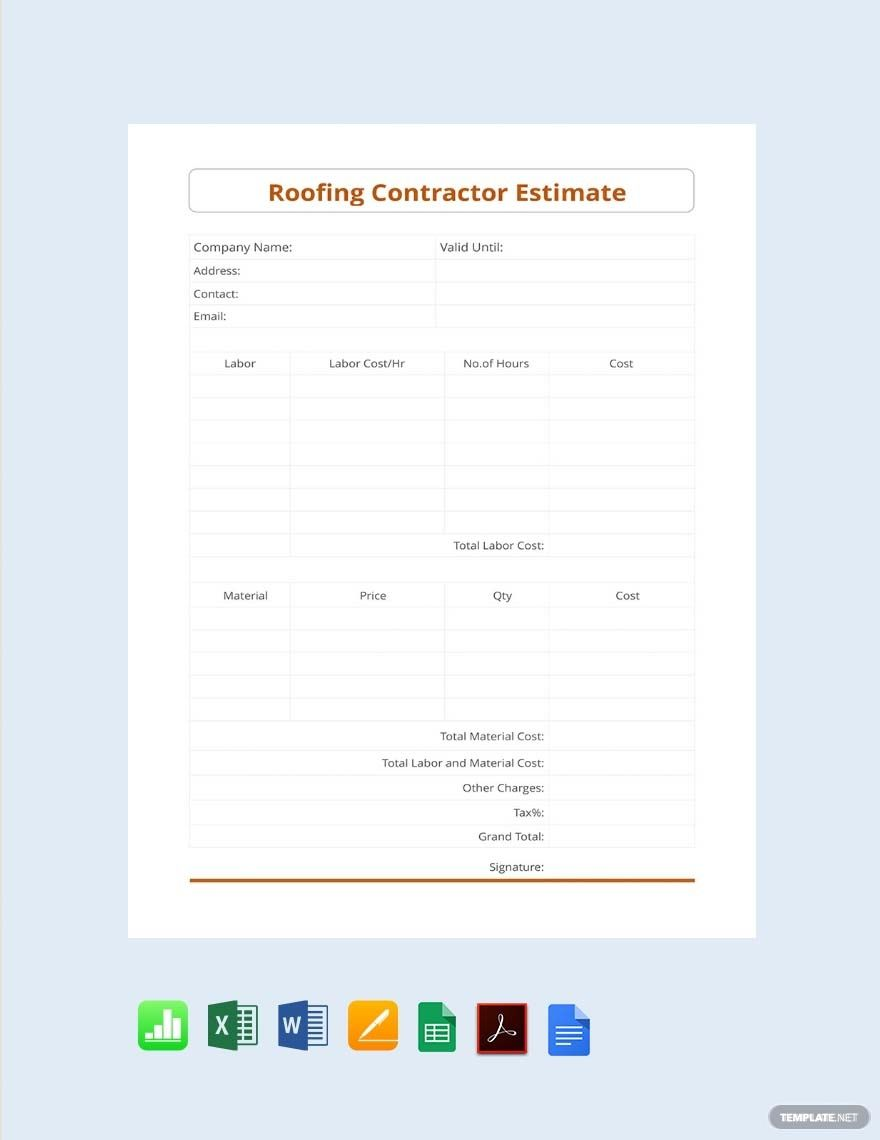 Free Roofing Contractor Estimate Template in 2020