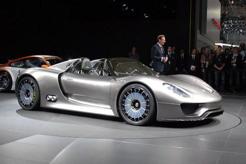 Porsche 918 Spyder ($845,001). It will boast a high-revving V8 engine which makes more than 500 hp, with a plug-in hybrid system that adds over 218 hp. Porsche claims that it has a 0-60 mph time of 3.1 seconds, with an amazing 78 mpg rating.