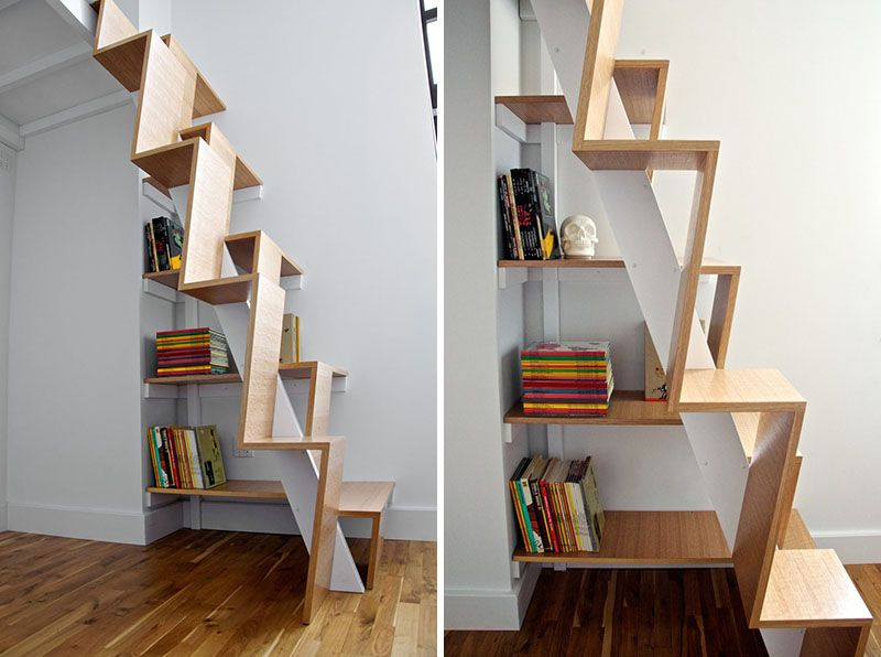 13 Stair Design Ideas For Small Spaces // The Treads On These Stairs  Alternate Heights And Are Quite Vertical, Making Them Easy To Climb And  Preventing Them ...