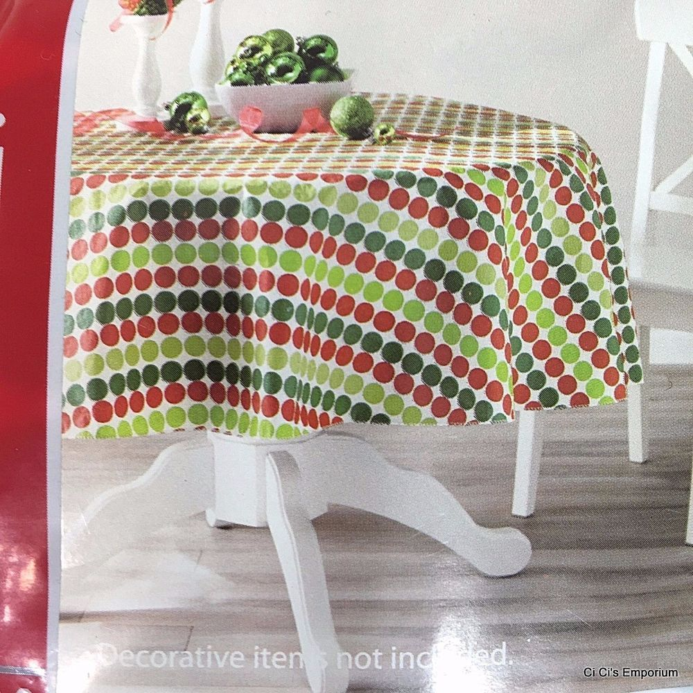 Christmas Polka Dot Vinyl Tablecloth Round 70 Inch Red Green White Holiday Time Holidayt Christmas Table Cloth Tablecloths For Sale Vinyl Christmas Tablecloth