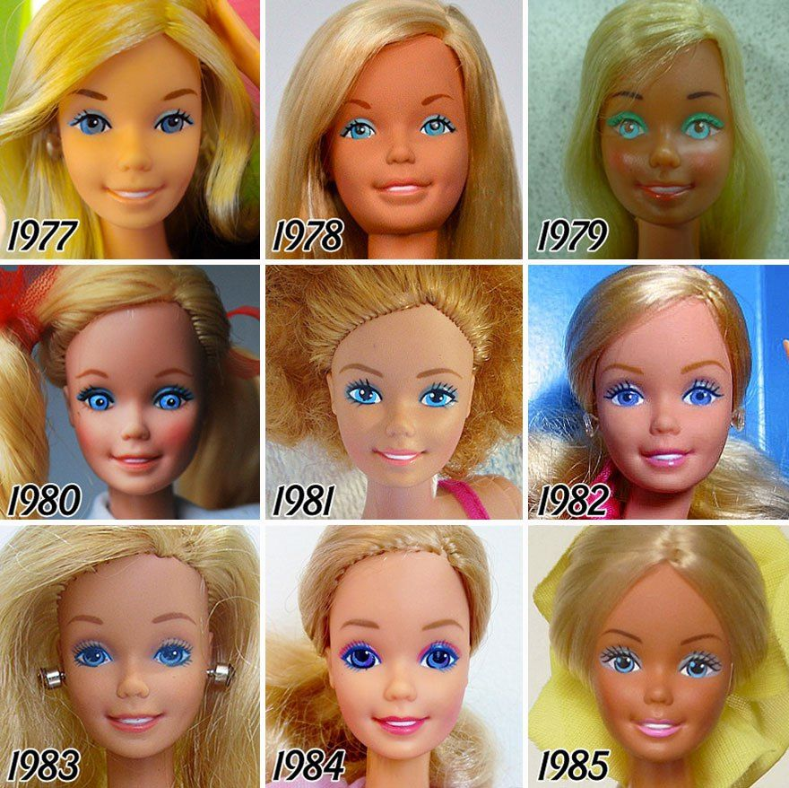 Ever since the release of the iconic Barbie doll in 1959, the look of the doll has change a lot depending on how the society sees the woman through each and every one of those decades till today.Tenaflyviper is a Tumblr user who put together head shots of Barbie doll from the beginning of its creat