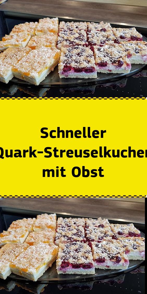 Schneller Quark-Streuselkuchen mit Obst #foodrecipies
