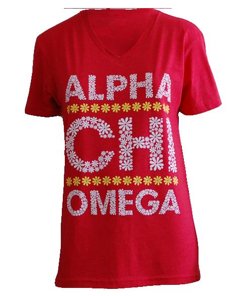 Alpha Chi Omega Flower Tee by Adam Block Design   Custom Greek Apparel & Sorority Clothes   www.adamblockdesign.com
