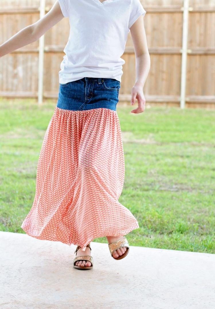 luftiger Maxi Kleid aus alten Jeans und fließendem Stoff | DIY nähen ...