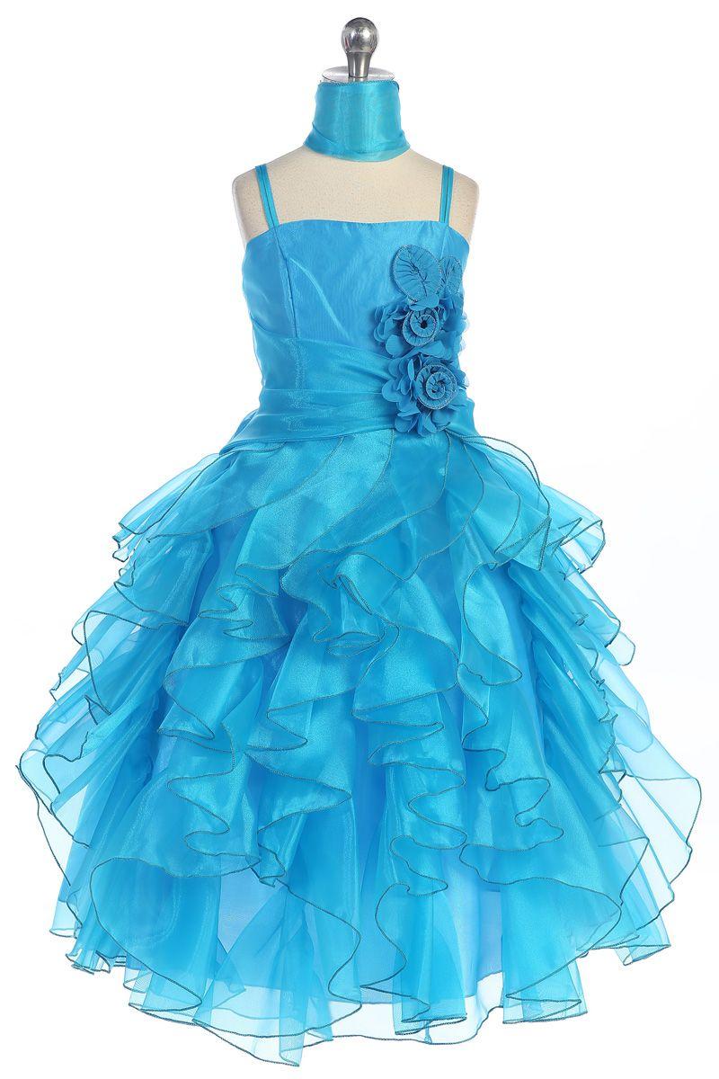 Turquoise Stunning Organza Ruffles Overlayed Floor Length Girl Dress ...
