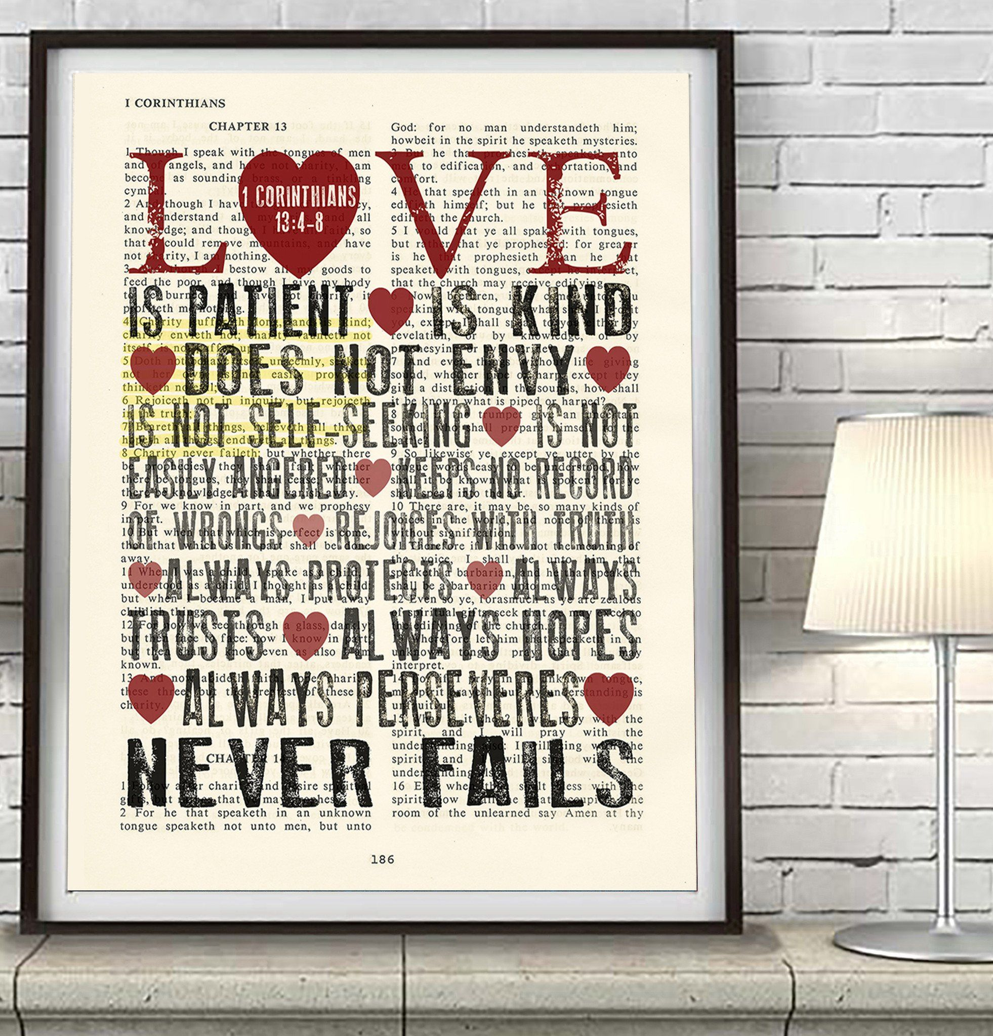 Love Is Patient Love Is Kind 1 Corinthians 13 4 8 Bible Page Art