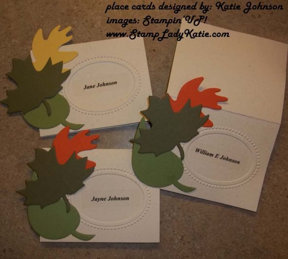 placecard with menu choice coded for caterer (based on the leaf colors)