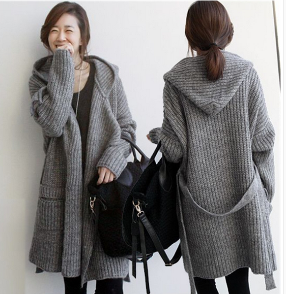 Women's Knit Sweater Long Coats With Suede Thickened Cardigan ...