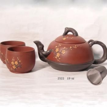 Wooden and clay asian tea set
