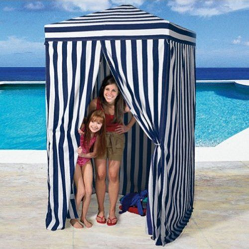 Changing Cabana Portable Stripe Room Privacy Tent Pool C&ing Outdoor EZ Pop Up  sc 1 st  Pinterest & Portable Changing Cabana Tent Patio Beach Pool Beige Talentstar ...