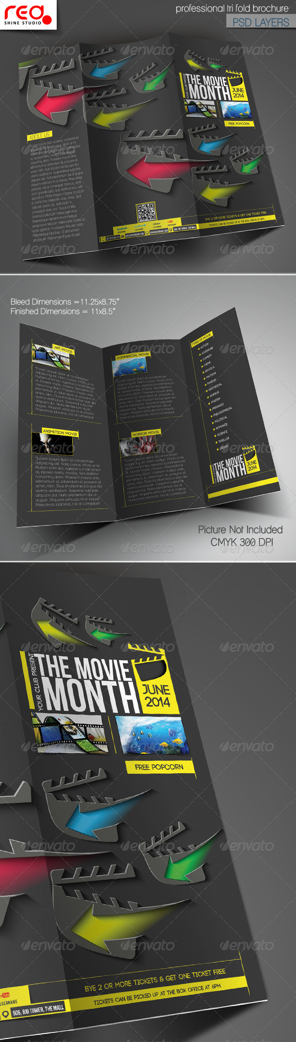 the movie month trifold brochure template corporate brochures