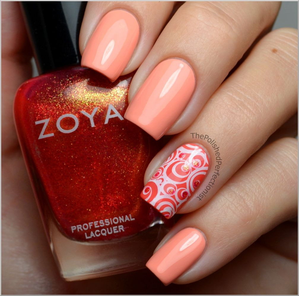 Three coats of Barry M - Peach Melba on most nails and Catrice - I ...