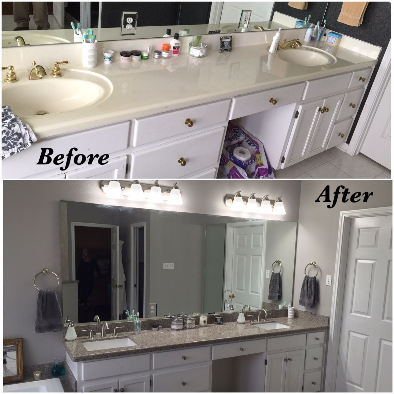 Best New Custom Quartz Alpine White Vanity Top With Full Paint 400 x 300