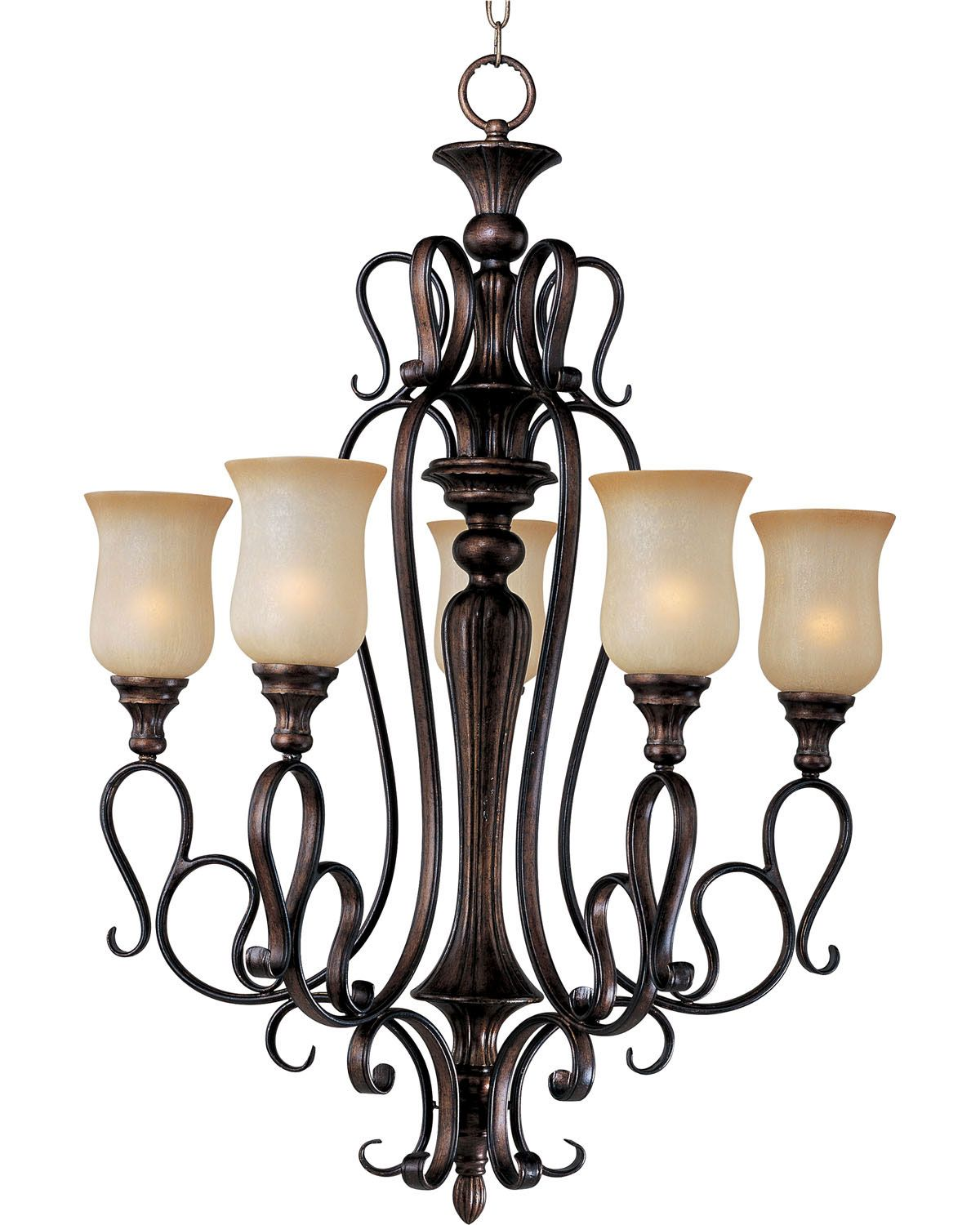 Maxim Lighting Wrought Without Crystal By Sausalito Collection Filbert Finish 5 Lt Chandelier