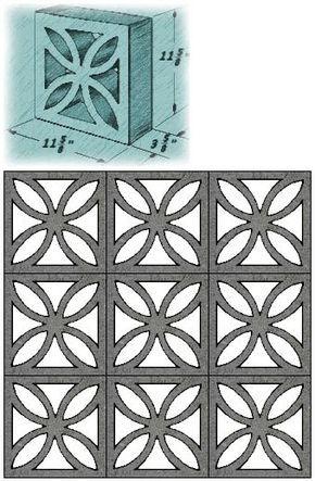 Mid Century Decorative Concrete Screen Block Concrete Decor