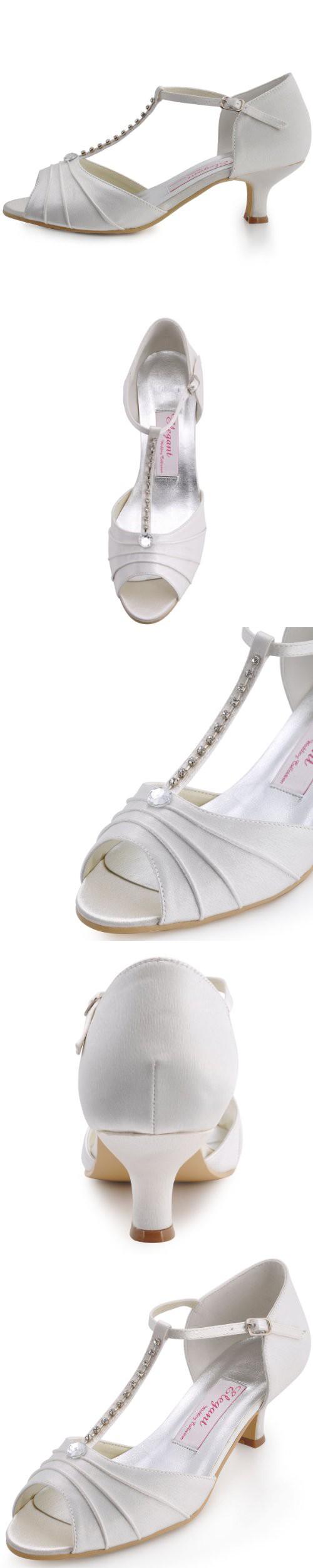 c02bd319c51aa0 ElegantPark EL-035 Women Peep Toe T-Strap Pumps Mid Heel Rhinestones Satin  Evening Wedding Dress Shoes Ivory US 10