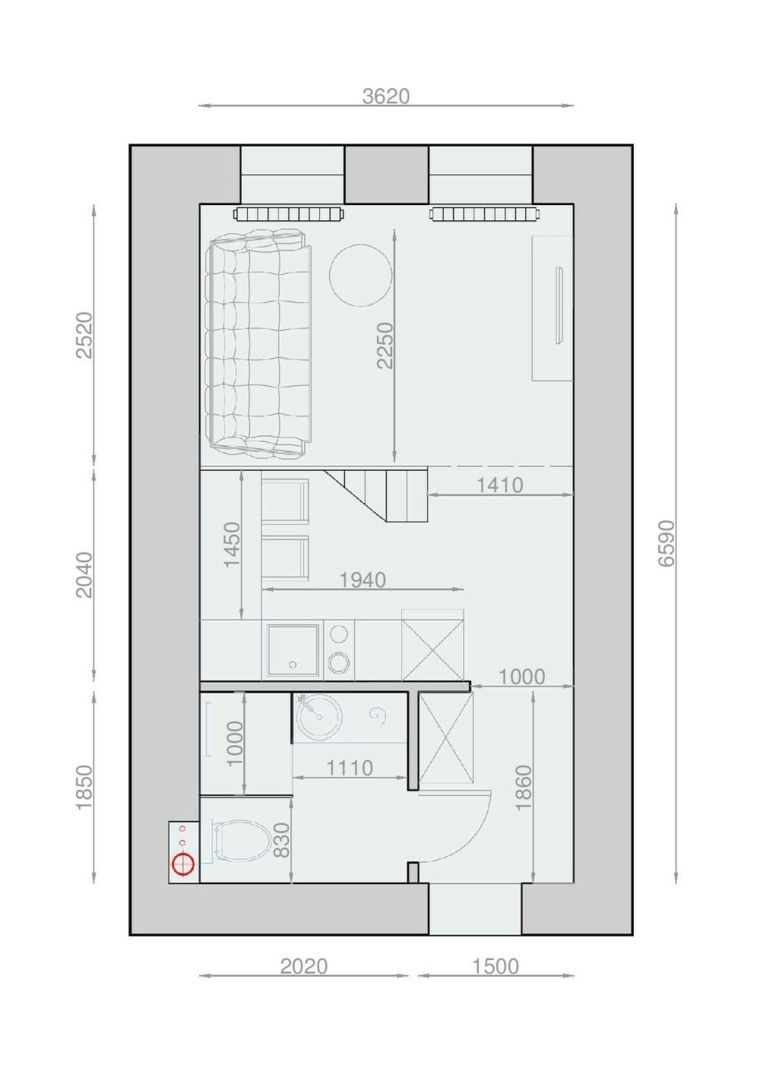 Am nager un studio int rieurs design de moins de 30m2 plans de maison studios et plans for Plan amenagement maison
