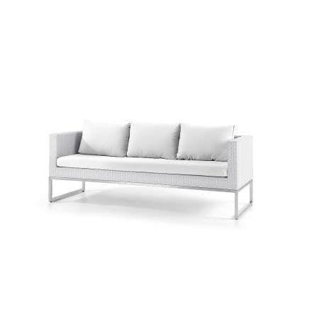 Gartensofa weiss - 3er Sofa - Gartenmöbel - Rattanmöbel - Edelstahl