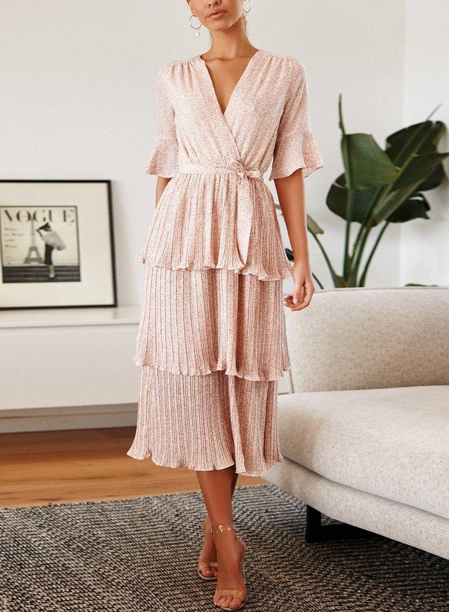 Robe mi-longue à volants plissée à fleurs blush   – Wishes
