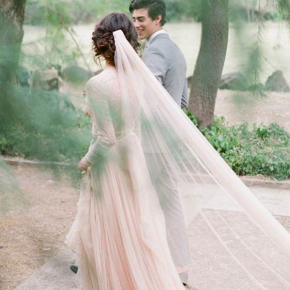 Light Pearl Pink Wedding Veil Cathedral Length Bridal With Gold Metal Comb Custom Colors Tulle