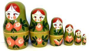 Matryoshka Karelia Russian Nesting Dolls Wood Nesting Doll Girl Holding Apples Doll 6 PC   eBay