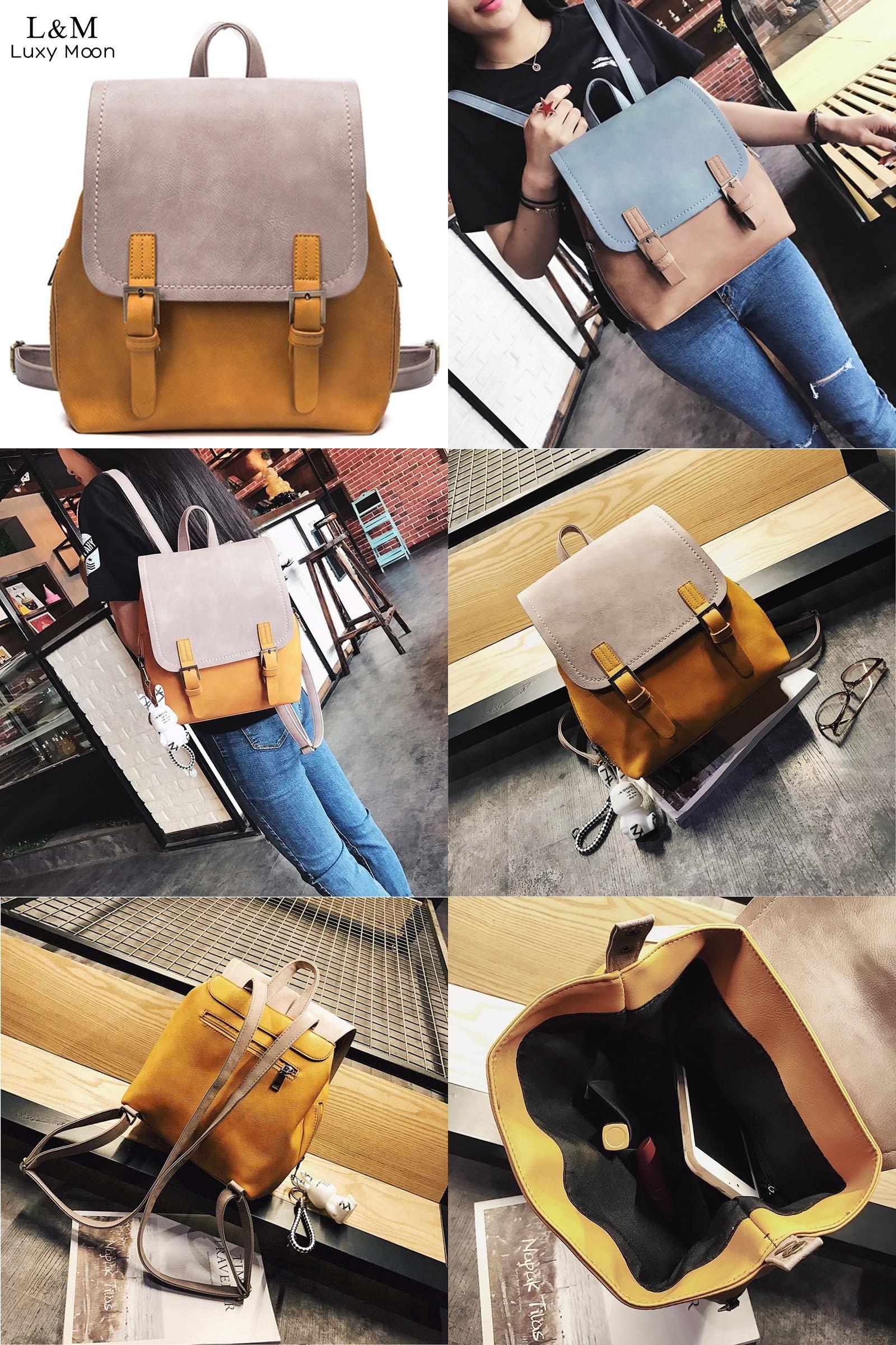 [Visit to Buy] Women Backpack Vintage PU Leather Rucksack Patchwork Retro Backpacks Teenage Girls Shoulder School Bag Female Mochila XA1024H #Advertisement