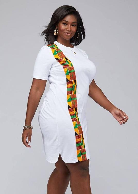 Mawa Women's African Print T-Shirt Dress (White)
