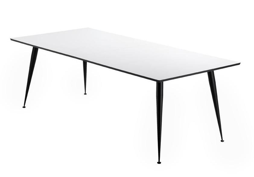 PK 220 Langbord - Lækkert langbord i hvid højtrykslaminat med sorte ben. Der medfølger 2 tillægsplader på 50 x 100cm