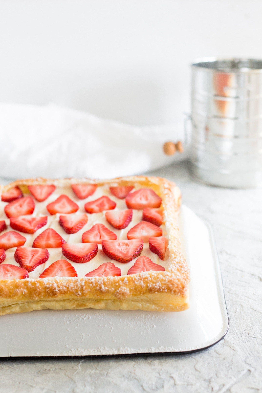 Strawberry Cream Cheese Tart with Puff Pastry - Jamie Kamber