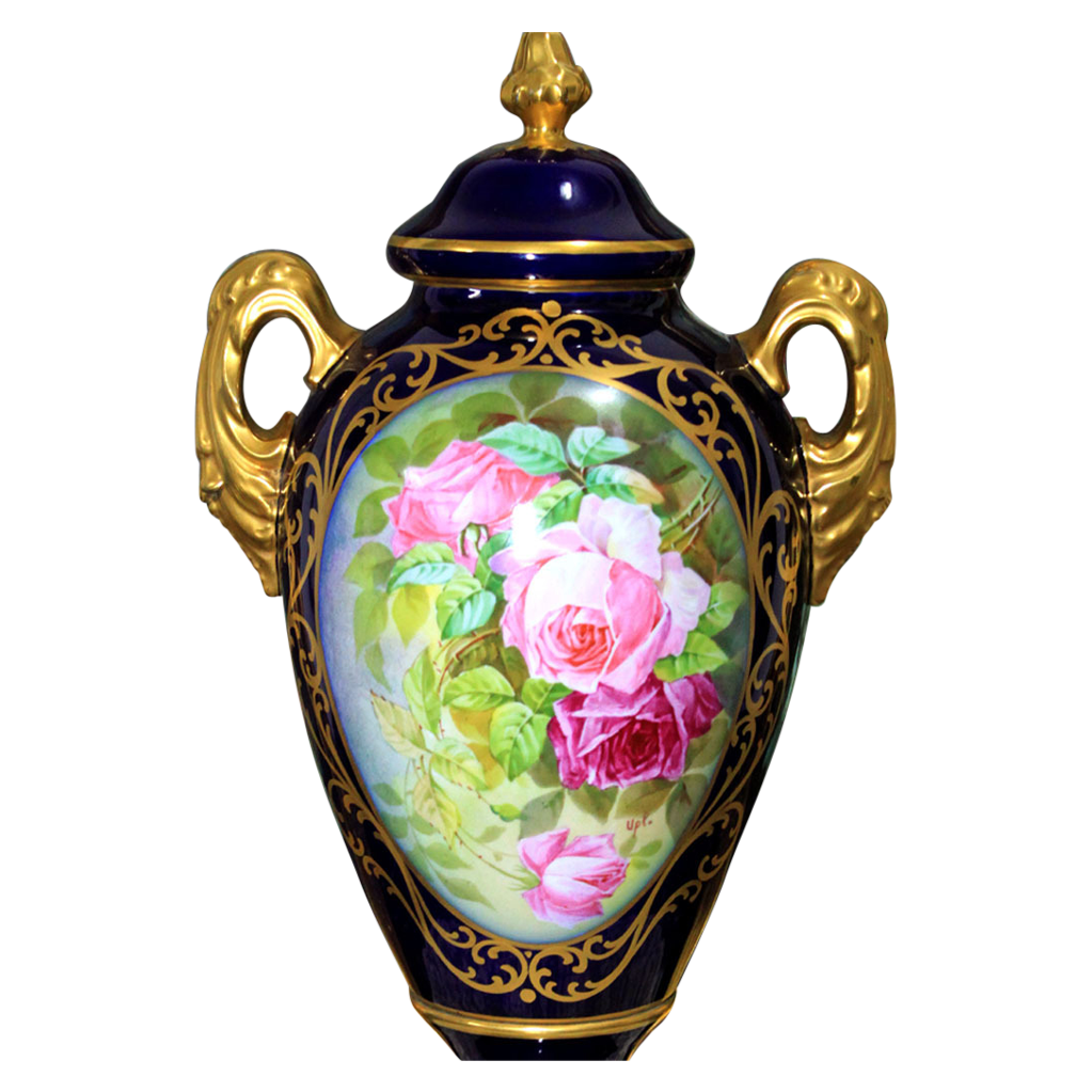19'' tall Museum quality Limoges France cobalt blue hand-painted urns/ vases, artist signed, heavy gold gilt, 1909-1938