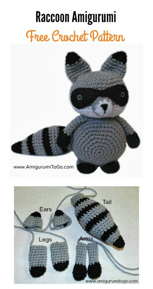 Raccoon Amigurumi Free Crochet Pattern   puntadas lindas   Ganchillo ...