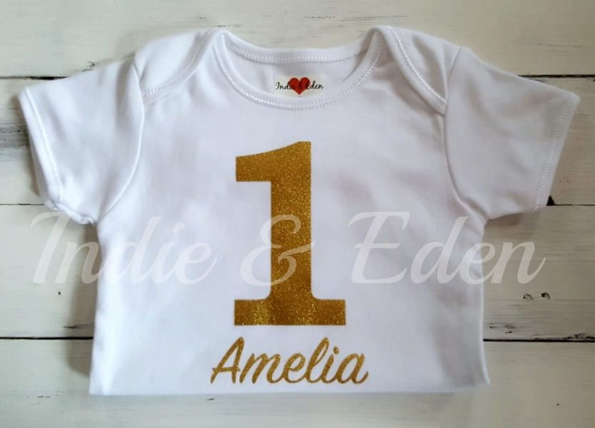 Baby Birthday Outfit Penguin 1st Vest Gold Girls Baby One Baby Grow Babygrow Cake Smash Photo Prop