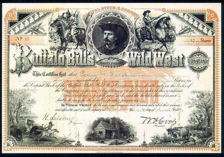 Buffalo Billu0027s Wild West Company stock certificate Scripophily - blank share certificates