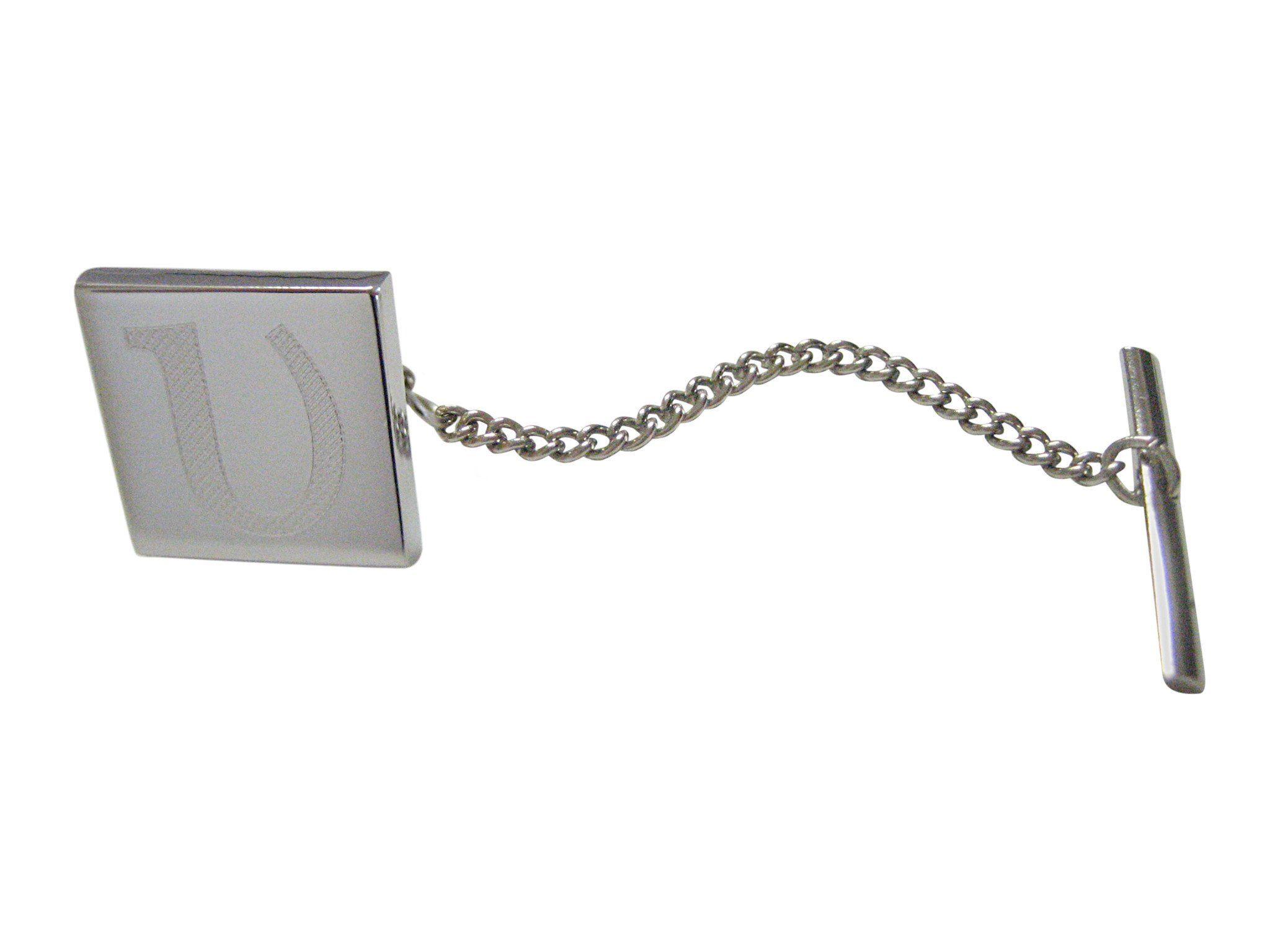 Silver Toned Etched Greek Letter Upsilon Cufflinks