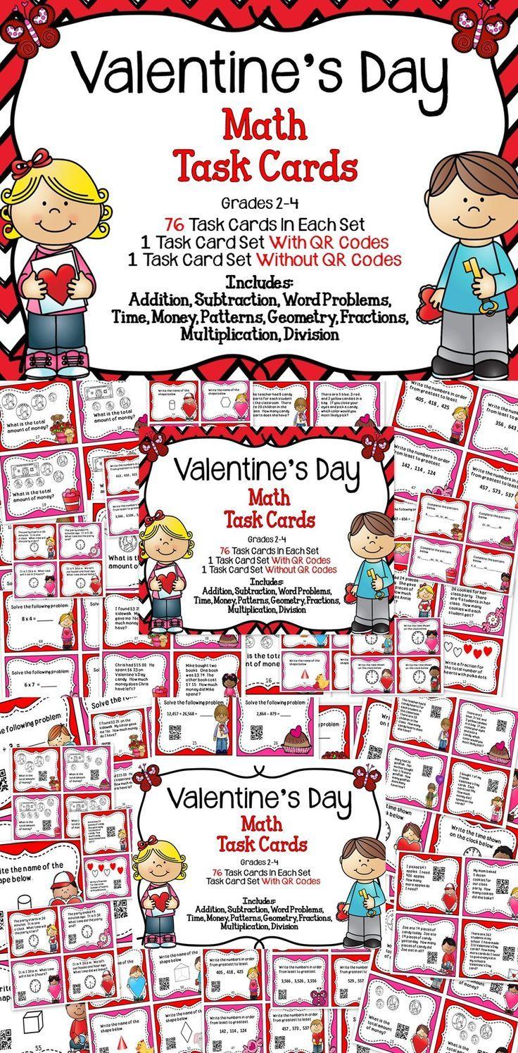Valentines Day Math  Math task cards Math skills and Teacher