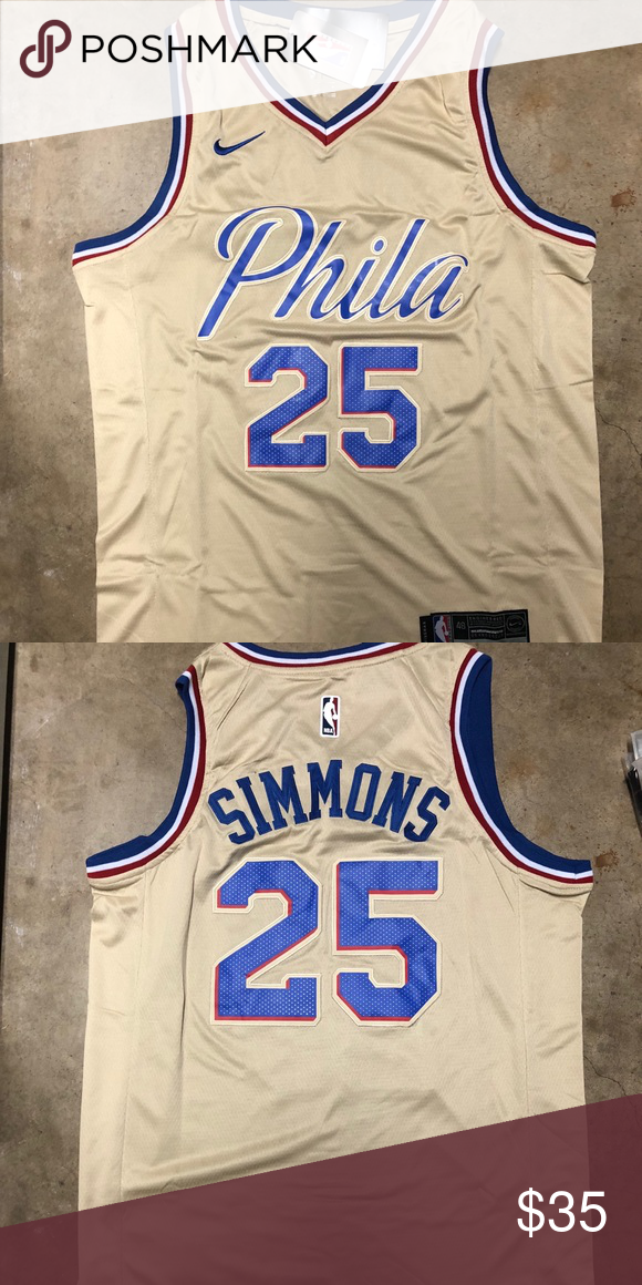 official photos 8e513 f7622 Ben Simmons #25 Philadelphia 76ers Cream Jersey Brand new ...