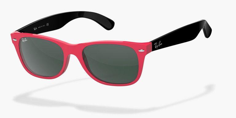 Personnaliser Ray-Ban® New Wayfarer Brillant RB-2132   Ray-Ban® Remix - Store France Ray ban personnalisées, rouge corail noir, gravées branches intérieures
