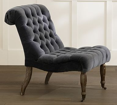 Carolyn Tufted Upholstered Slipper Chair, Polyester Wrapped Cushions ...