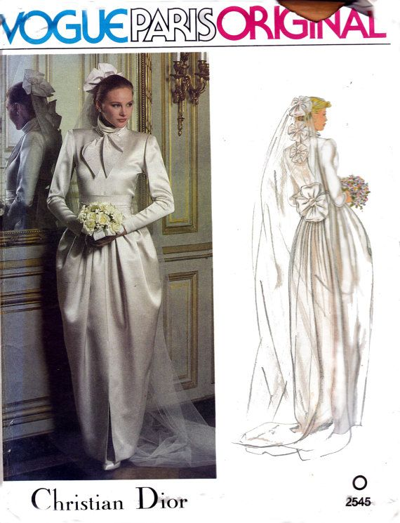 70s CHRISTIAN DIOR Wedding Dress & Headpiece Pattern Vogue Paris ...