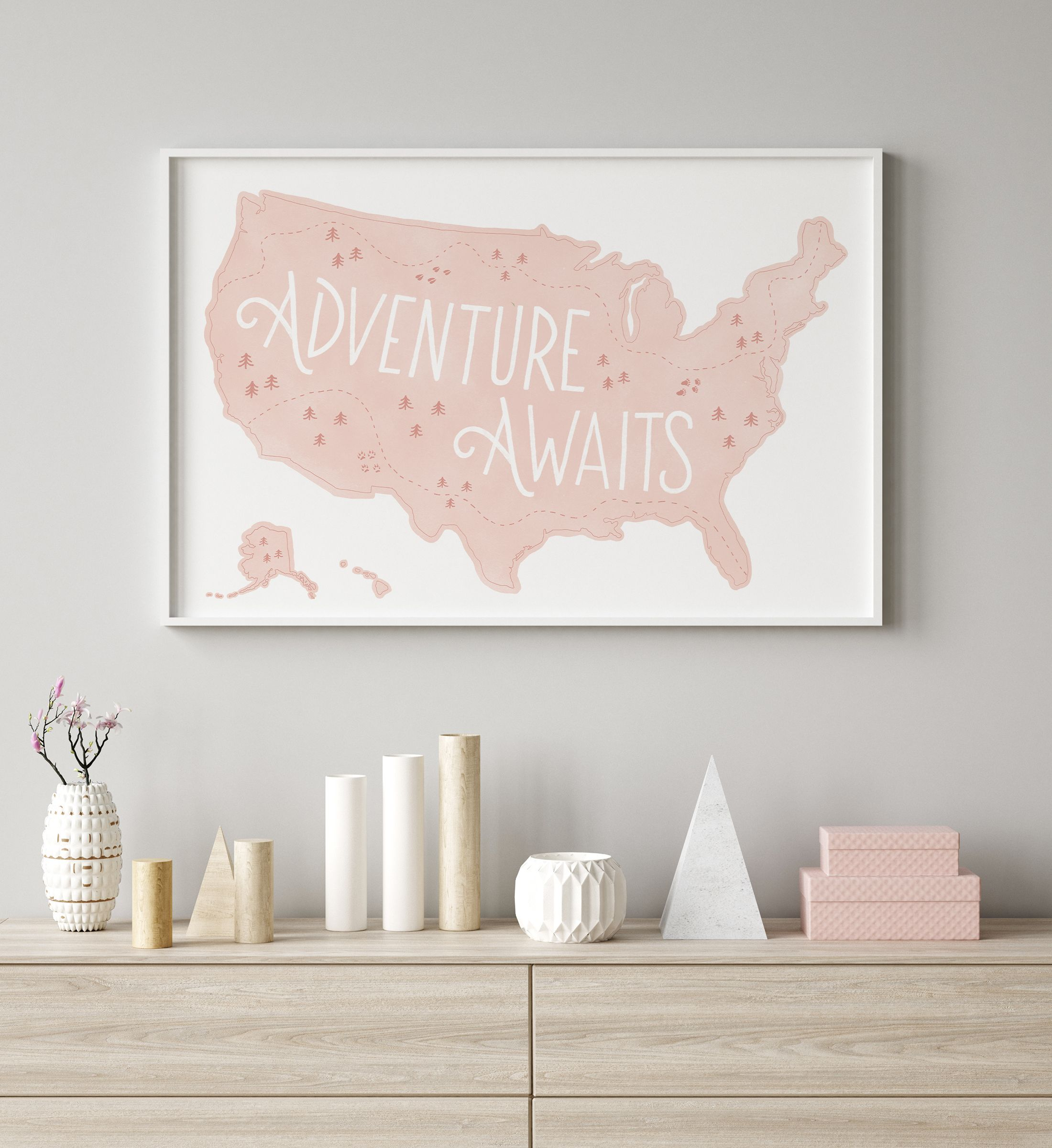 Pink Us Map Print Adventure Awaits Printable Wall Art Etsy In 2021 Pink Girl Room Travel Themed Room Nursery Decor Girl