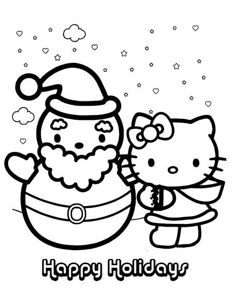 Hello Kitty Christmas And Winter Coloring Pages Of Happy Holidays