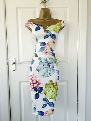 Womens Ladies New Summer Floral  Bardot Evening Bodycon Dress Size 8-14