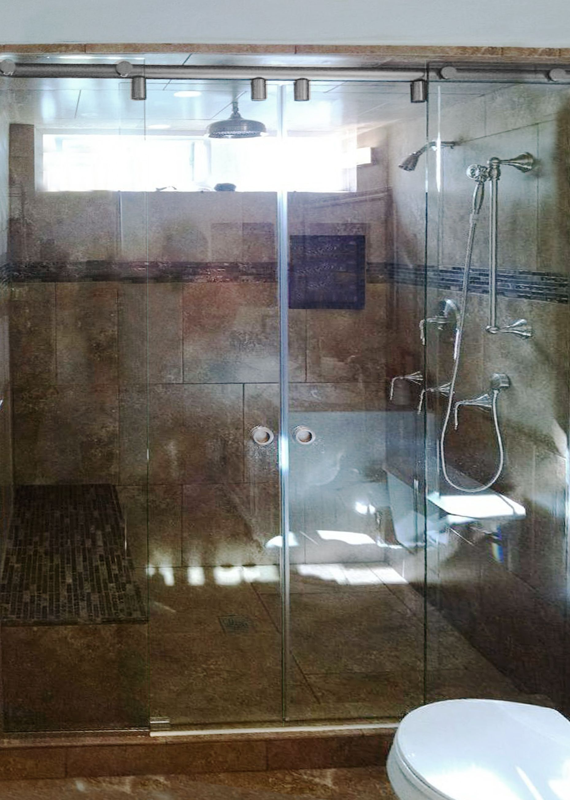 Custom Double Sliding Hydroslide Inline Shower Unit with Clear Glass ...