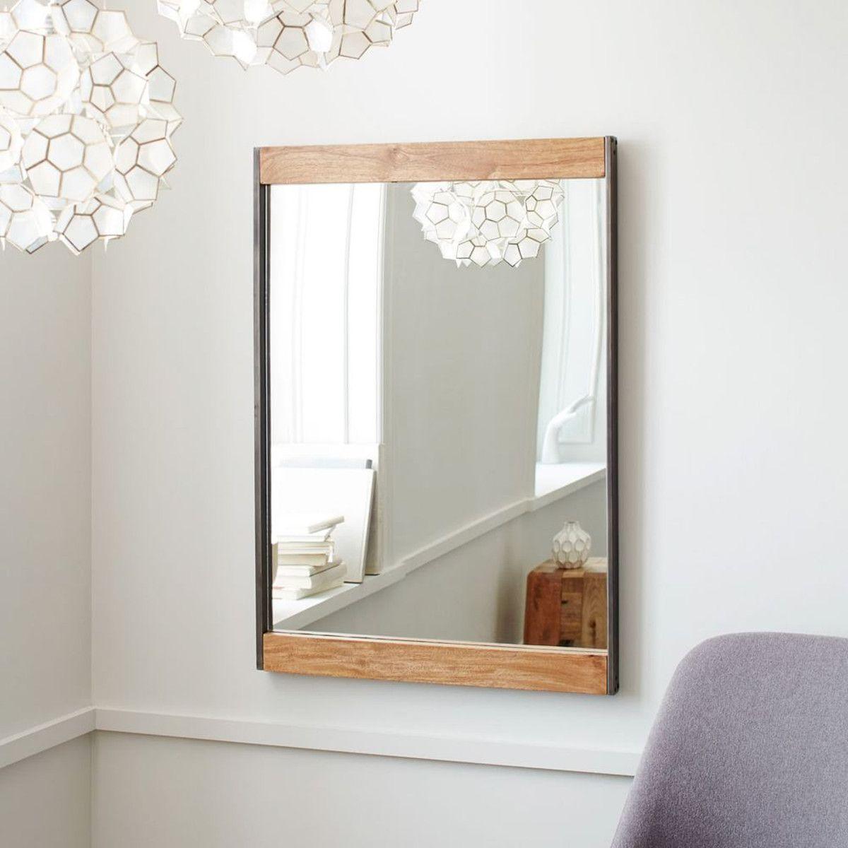 Industrial Floor Mirror: Metal + Wood Wall Mirror
