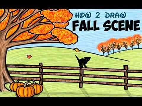 Drawing How To Draw An Autumn Or Fall Scene For Kids Fall Drawings Drawing Tutorials For Kids Step By Step Drawing