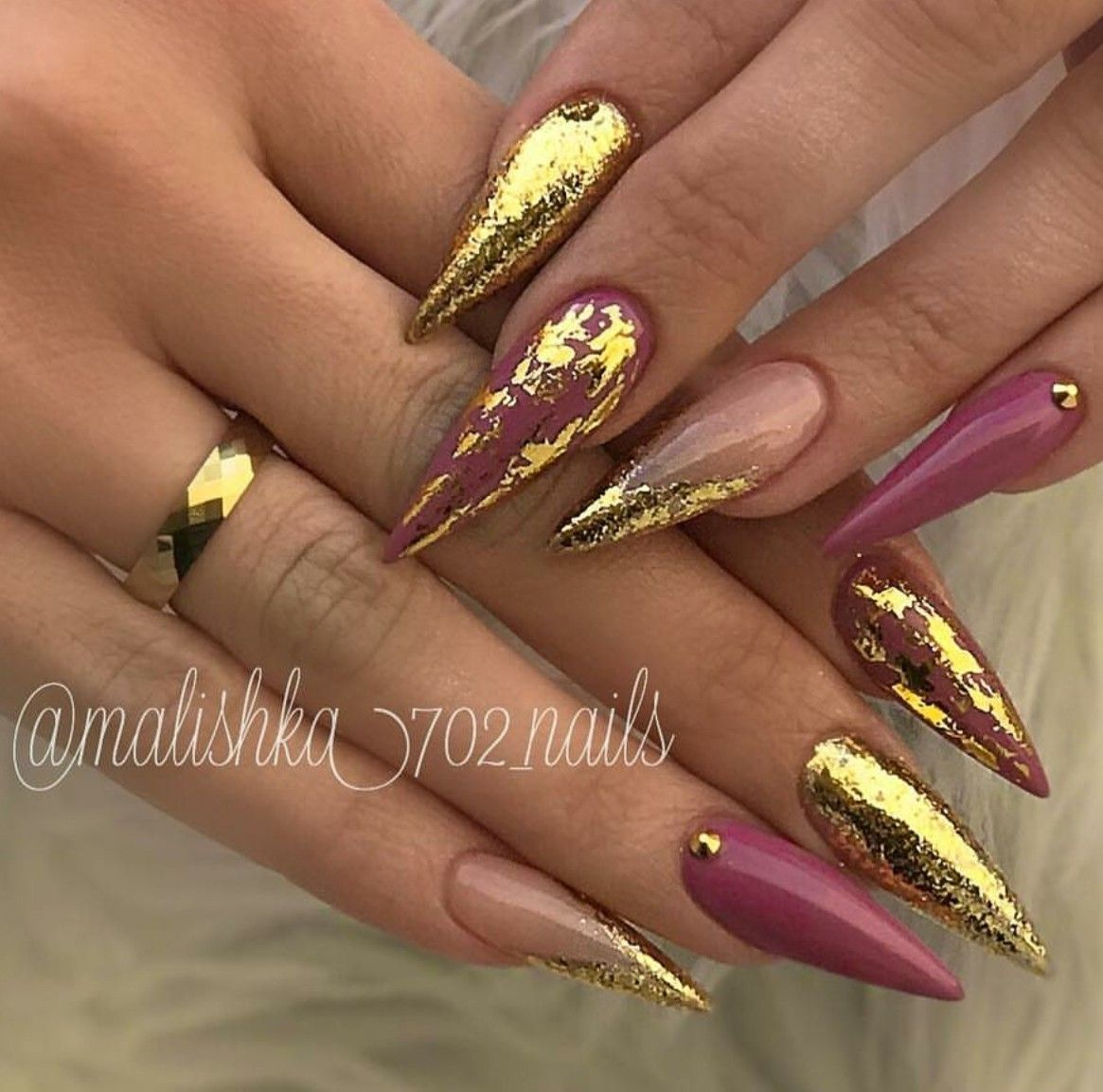 Stiletto Nails Fall Gold Foil Acrylic Finger