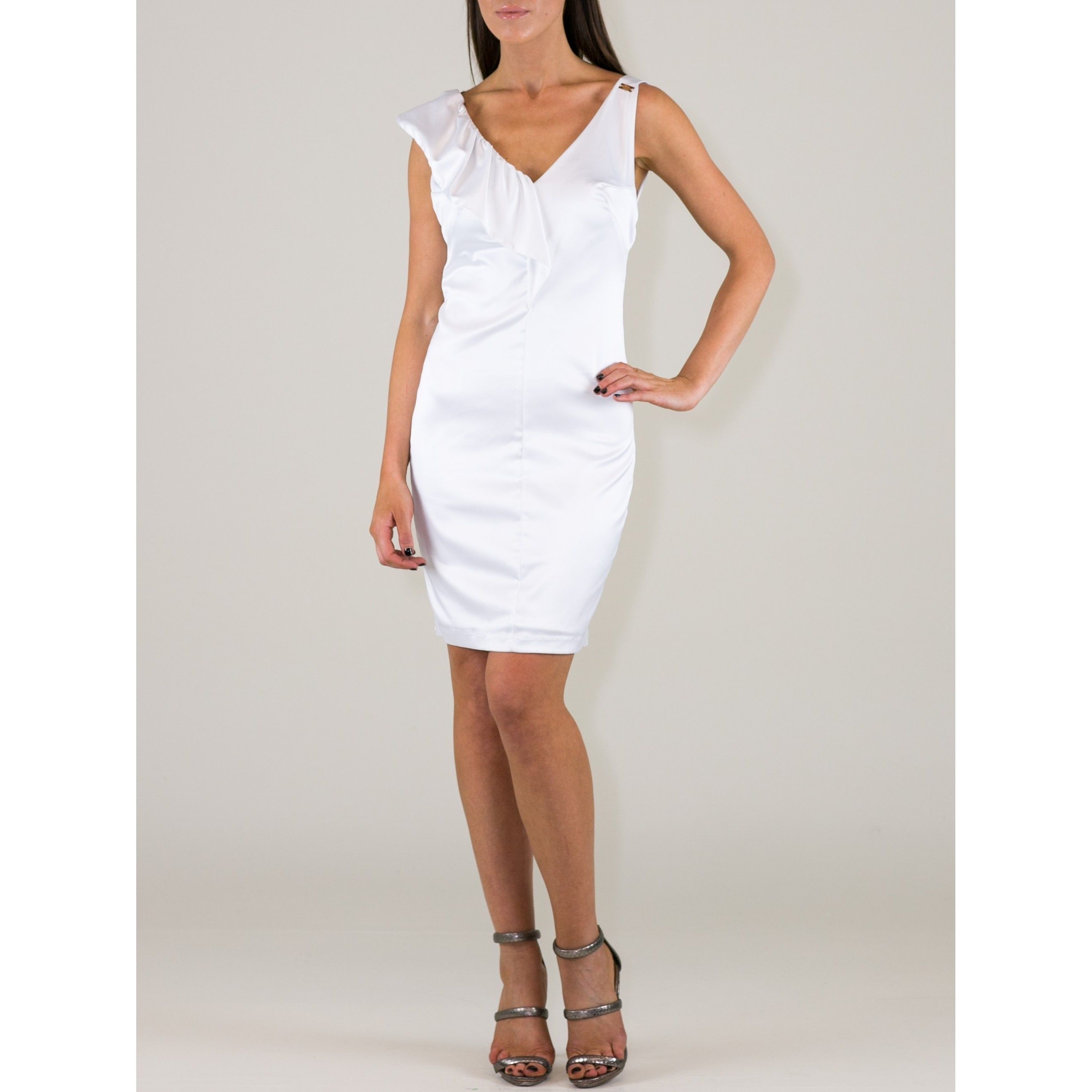Women's Polyester-blend Ruffle Shoulder Sheath Dress