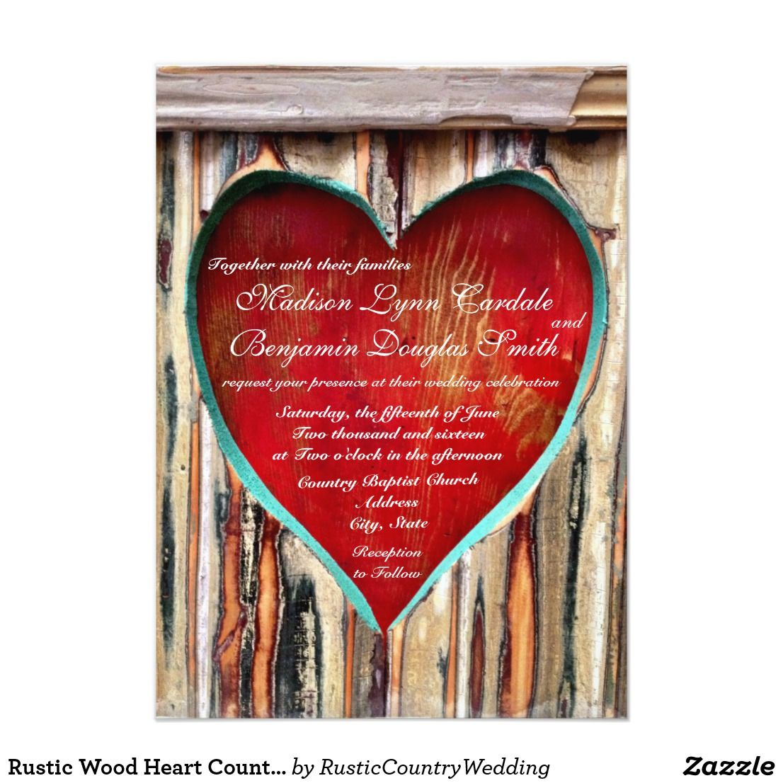 Rustic Wood Heart Country Wedding Invitations | Heart wedding ...