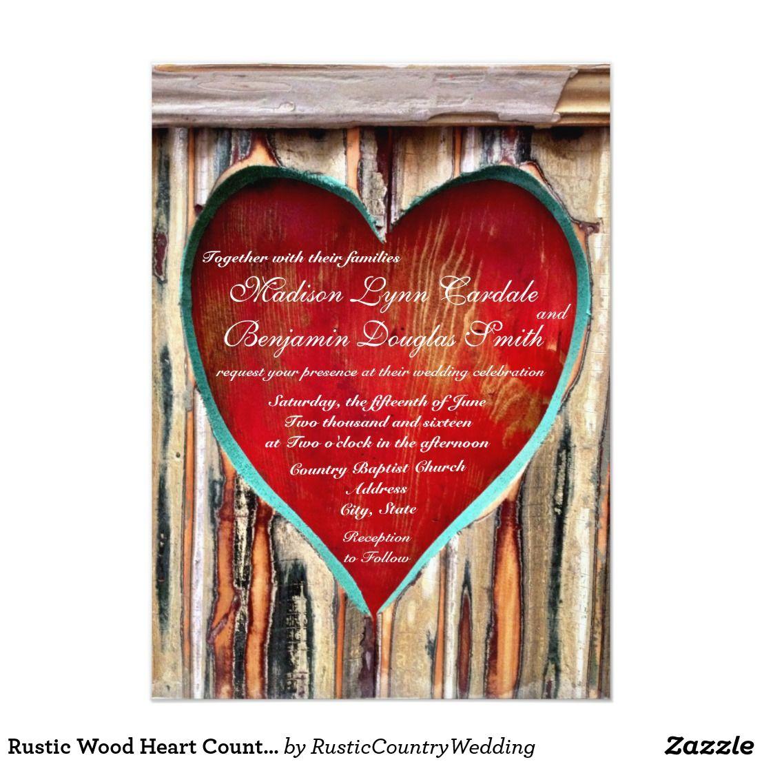 Rustic Wood Heart Country Wedding Invitations | Wedding & Bridal ...